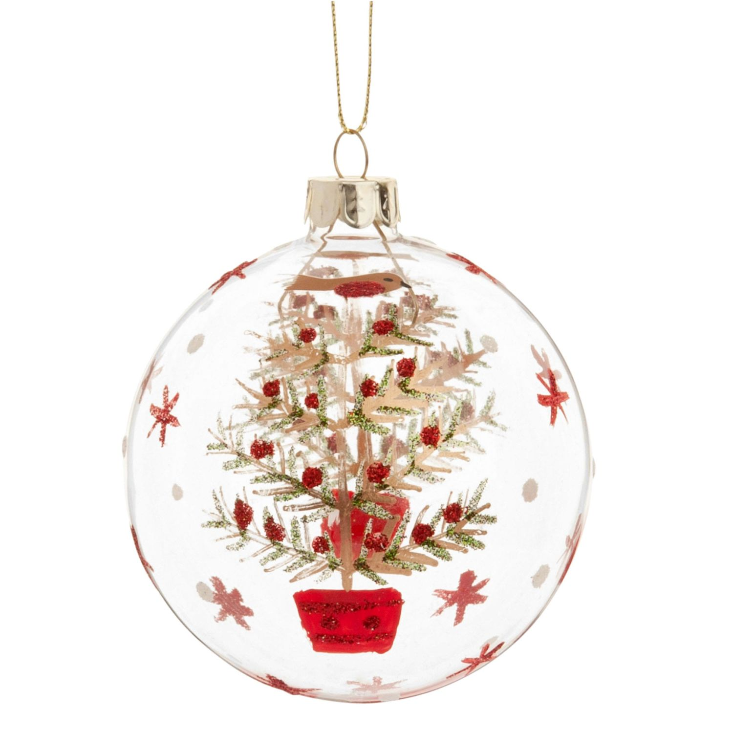 glass christmas bauble with green red and gold christmas tree print