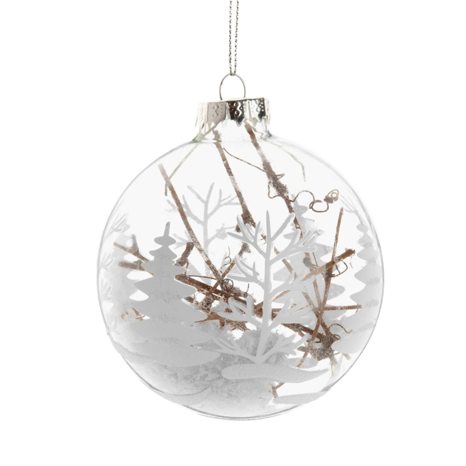 glass christmas bauble with white christmas tree print and branches