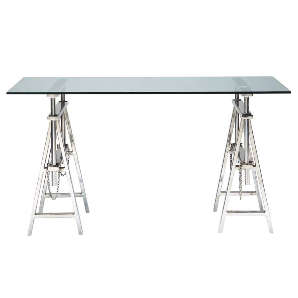 glazen en verchroomd metalen bureau b 150 cm helsinki. Black Bedroom Furniture Sets. Home Design Ideas