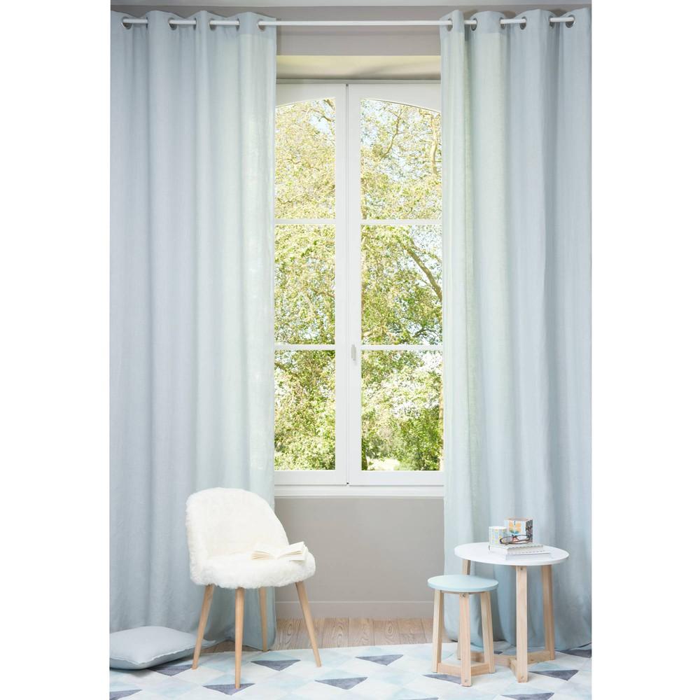 Gletsjerblauw gewassen linnen gordijn met ringen 130 x 300 cm maisons du monde - Linnen gordijnen gewassen ...