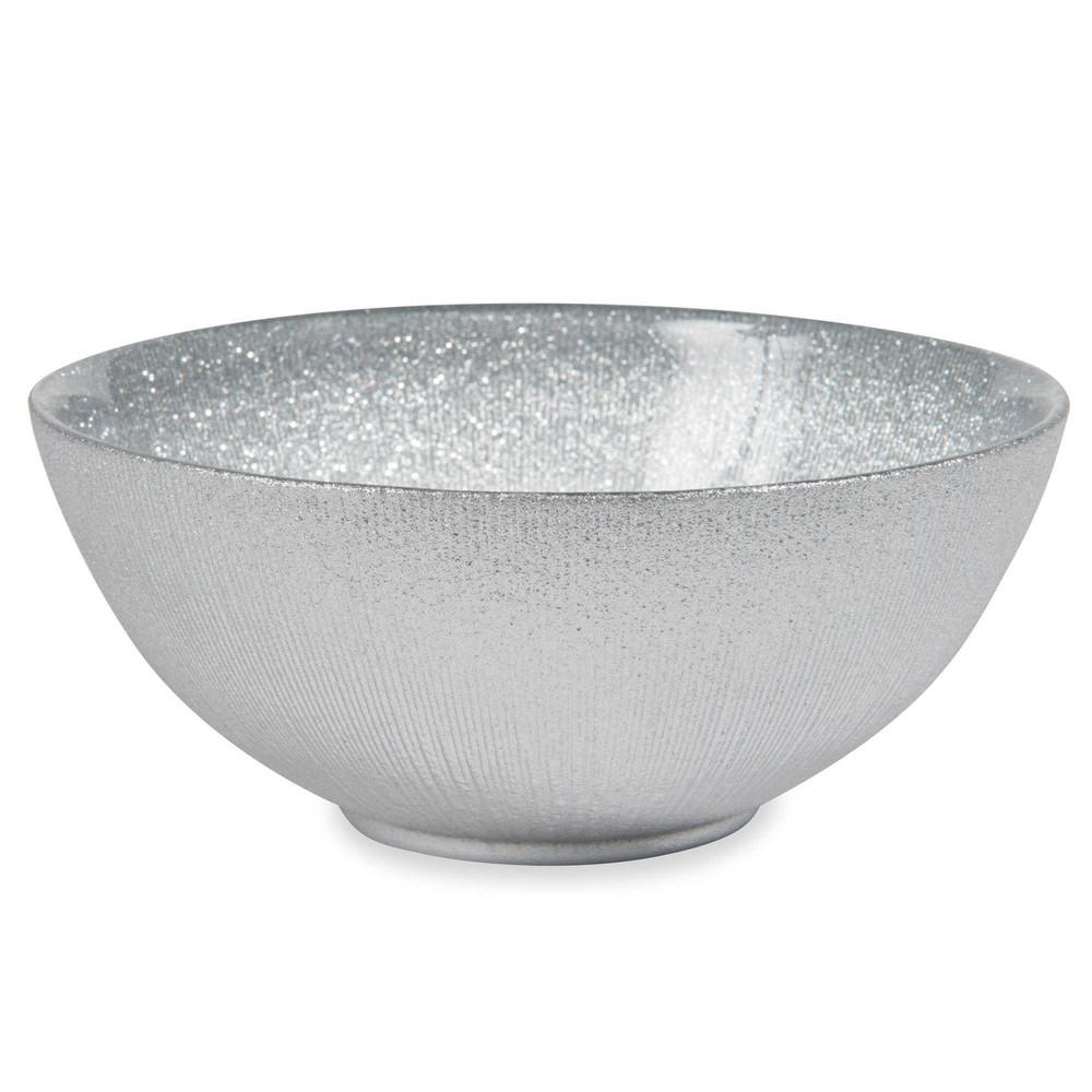 Glitter small silver glass bowl maisons du monde for Glitter bowl