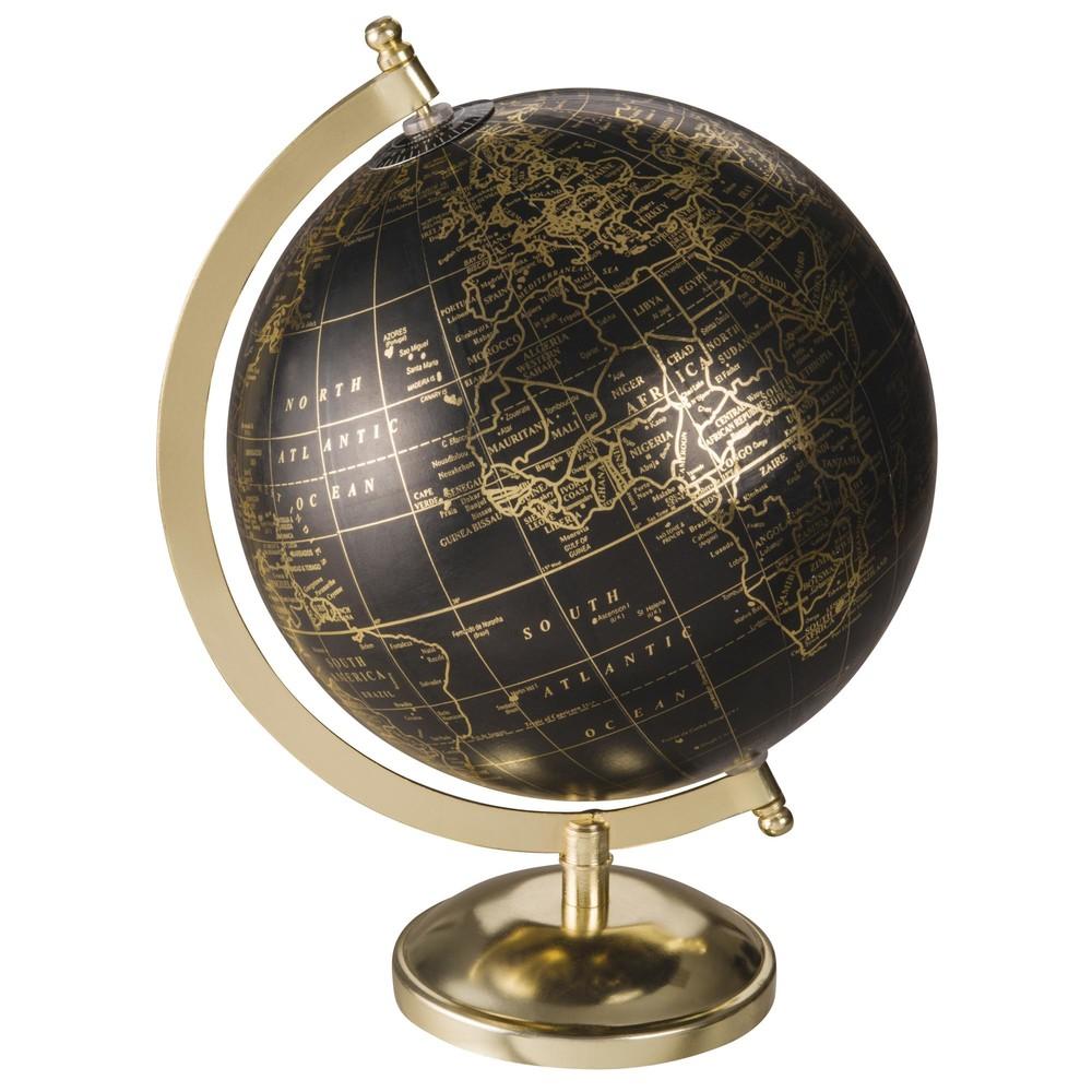 Globe terrestre mappemonde noir et dor maisons du monde - Maison du monde mappemonde ...