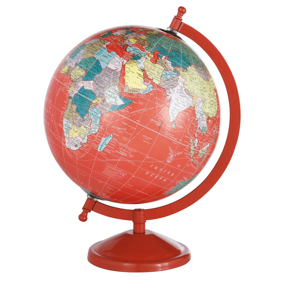 globe terrestre rouge h 29 cm school maisons du monde. Black Bedroom Furniture Sets. Home Design Ideas