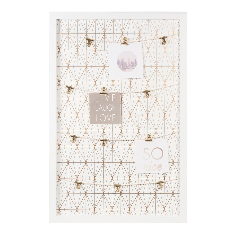 Gold graphic photo memo board in white 40 x 60cm maisons - Pinnwand modern ...