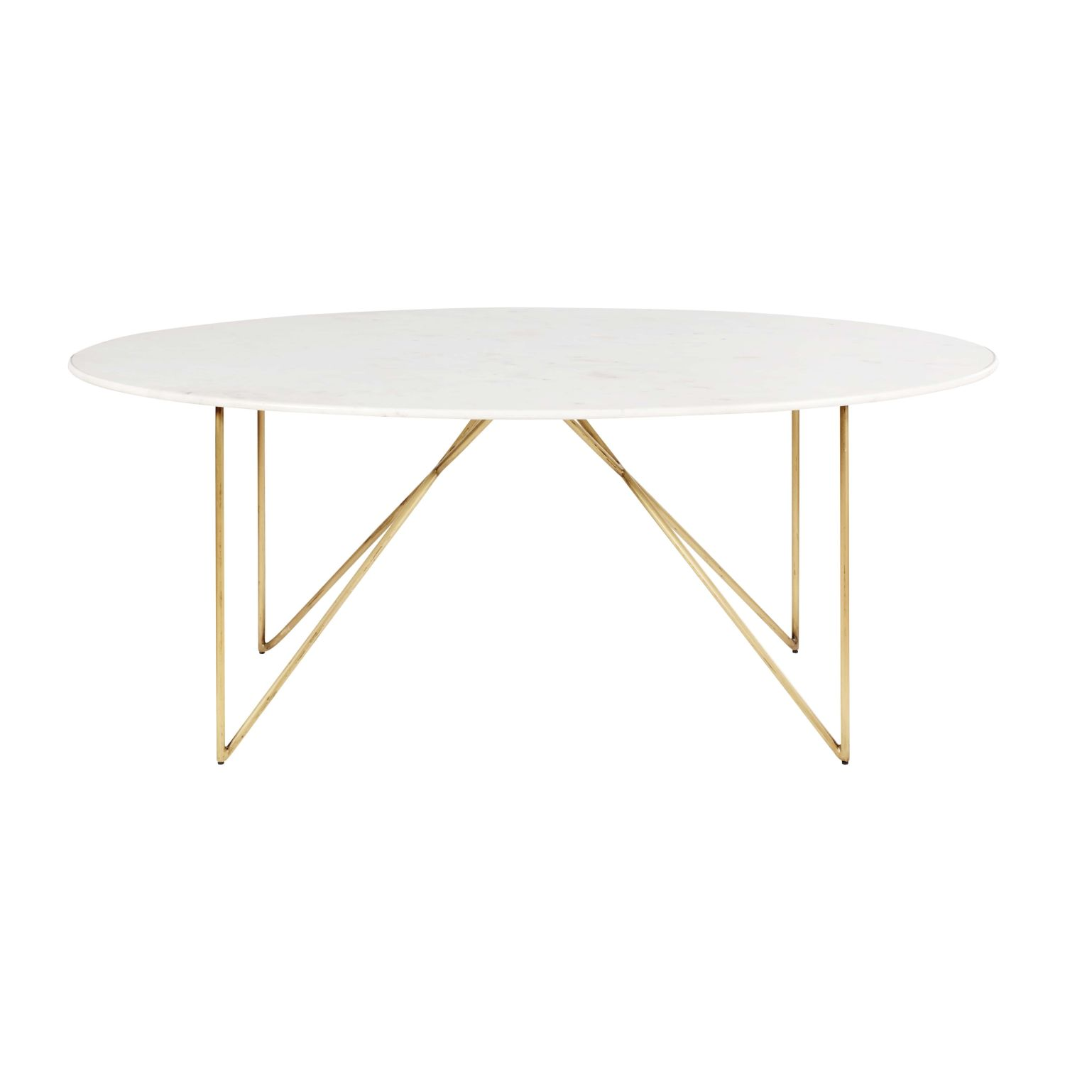 Gold Iron And White Marble 4 6 Seater Dining Table W 200 Cm Izmir Maisons Du Monde