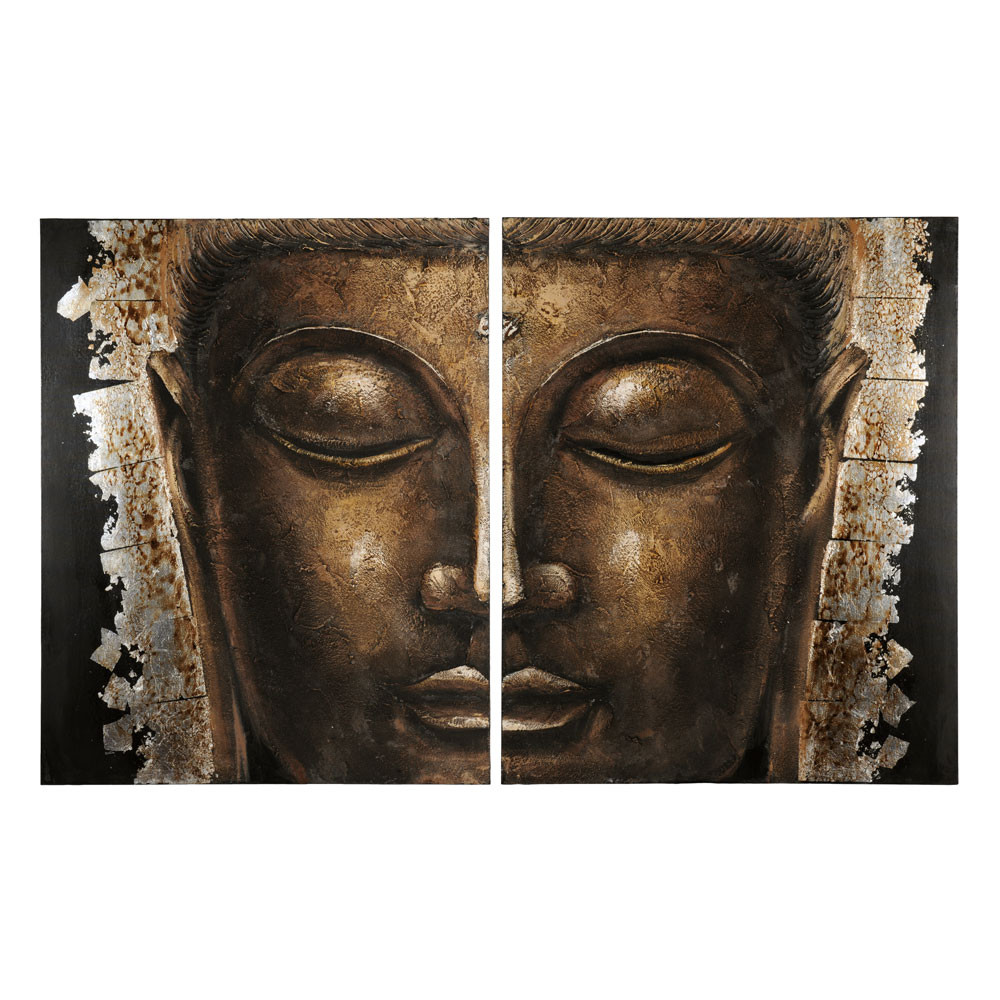 golden bouddha canvas in gold 80 x 100cm maisons du monde. Black Bedroom Furniture Sets. Home Design Ideas