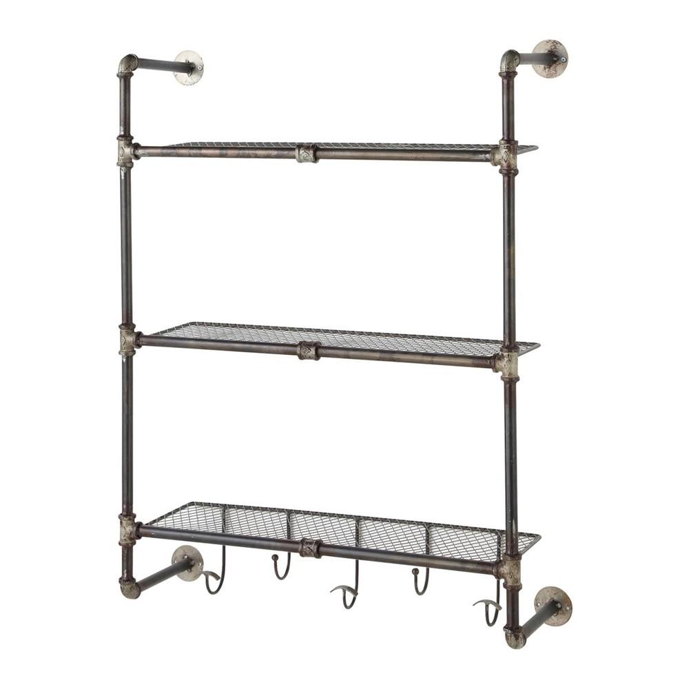 gordon antiqued metal wall shelf unit w 68cm maisons du. Black Bedroom Furniture Sets. Home Design Ideas