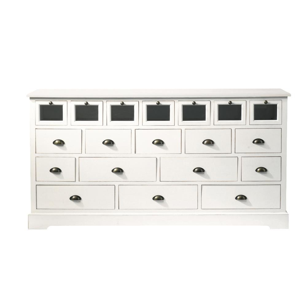 grainetier multi tiroirs en bois de paulownia blanc l 180. Black Bedroom Furniture Sets. Home Design Ideas