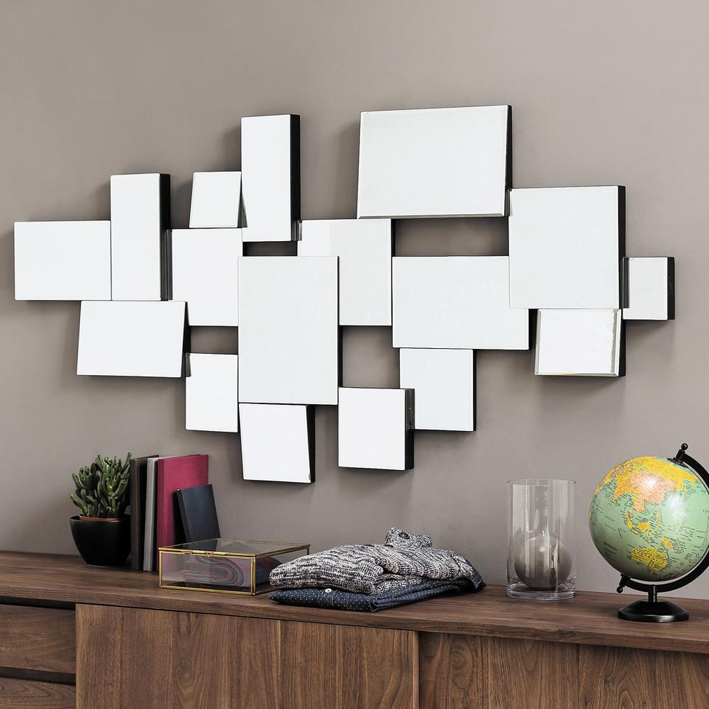 Graphic wooden bevelled mirror black h 140cm maisons du for Miroir horizontal salon