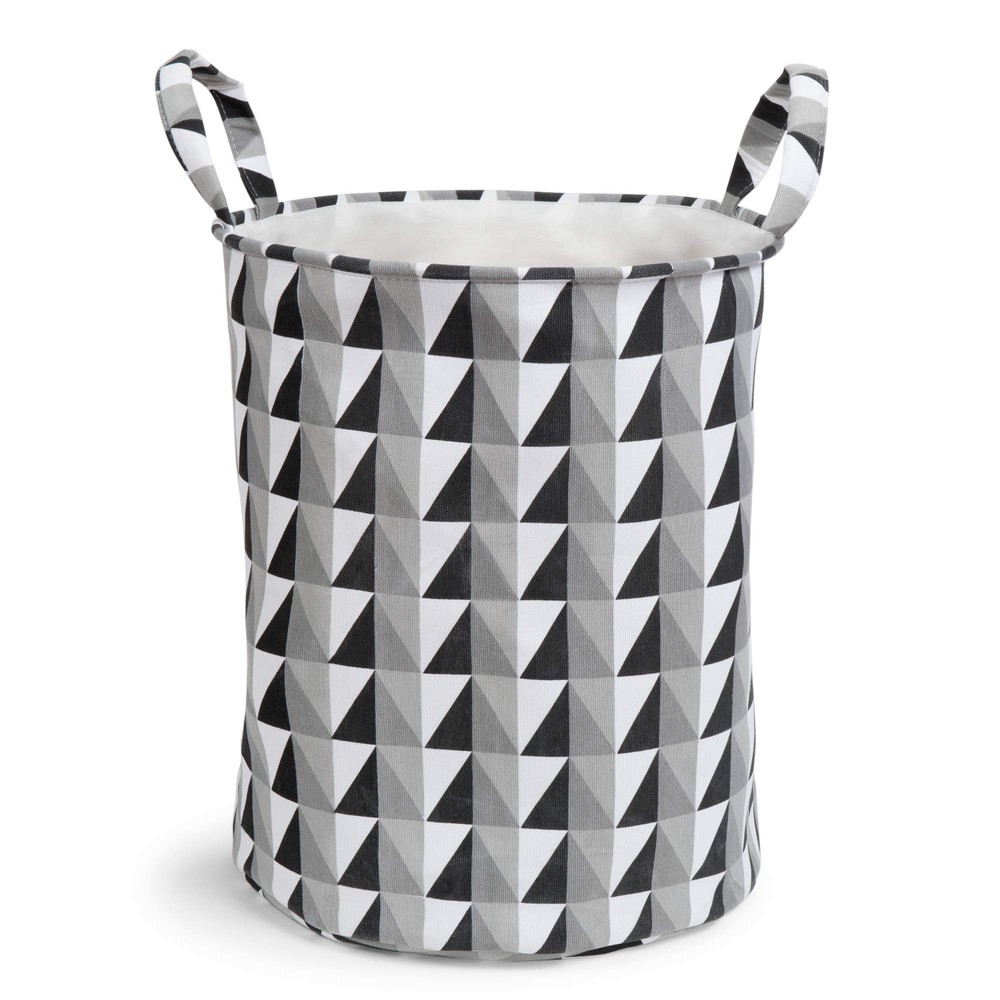 Graphique Fabric Laundry Basket In Black White Maisons