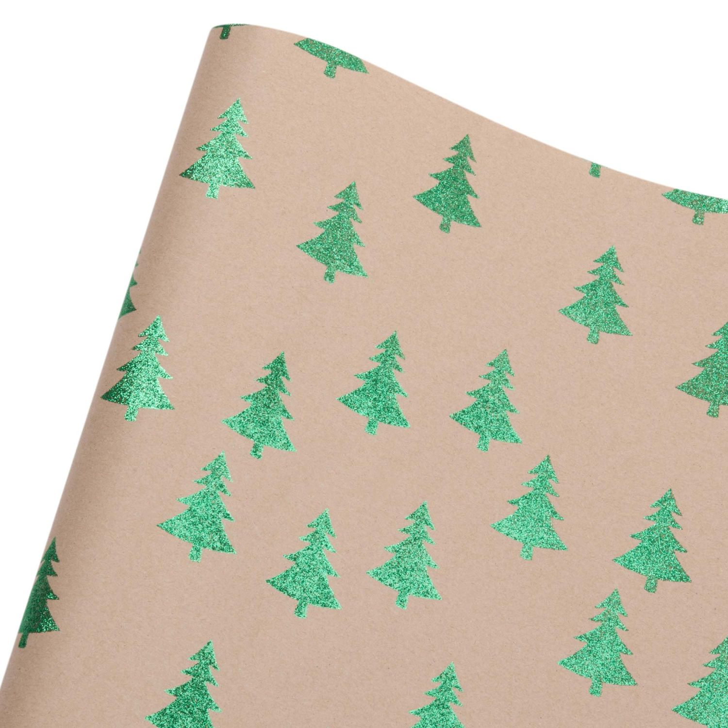 green christmas tree print wrapping paper 1 50m maisons du monde