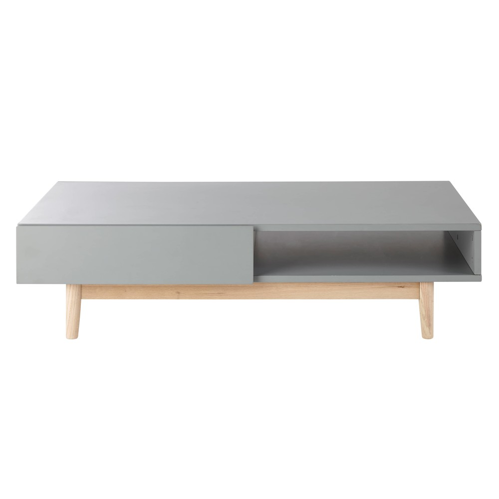 Grey 2 drawer scandinavian style coffee table artic for Table inspiration scandinave