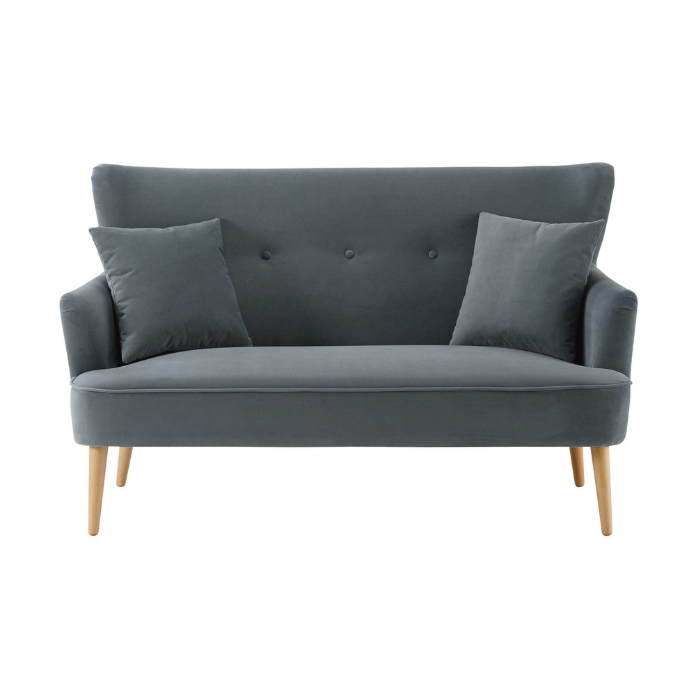 Leon Bedroom Furniture Grey 2 Seater Velvet Sofa Leon Maisons Du Monde