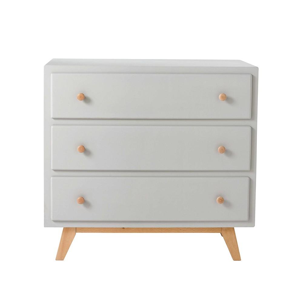 Grey 3 drawer chest sweet maisons du monde for Commode de salle de bain blanc