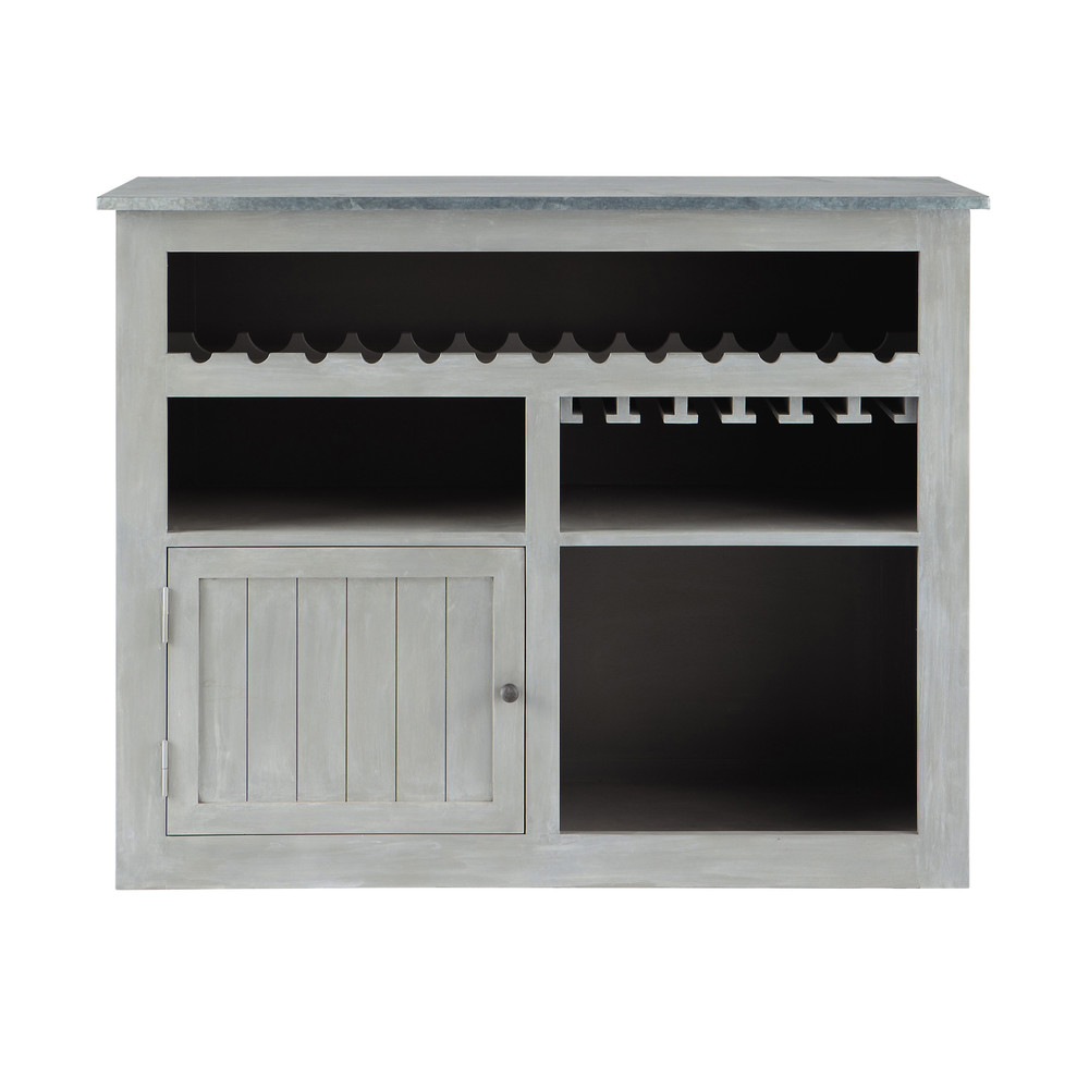grey acacia wood bar unit l 132 cm zinc maisons du monde. Black Bedroom Furniture Sets. Home Design Ideas