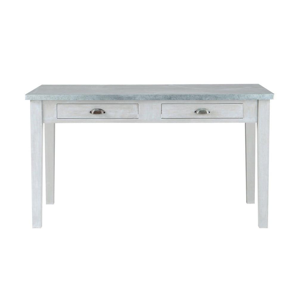 Grey Acacia Wood Dining Table L 140 Cm Zinc Maisons Du Monde