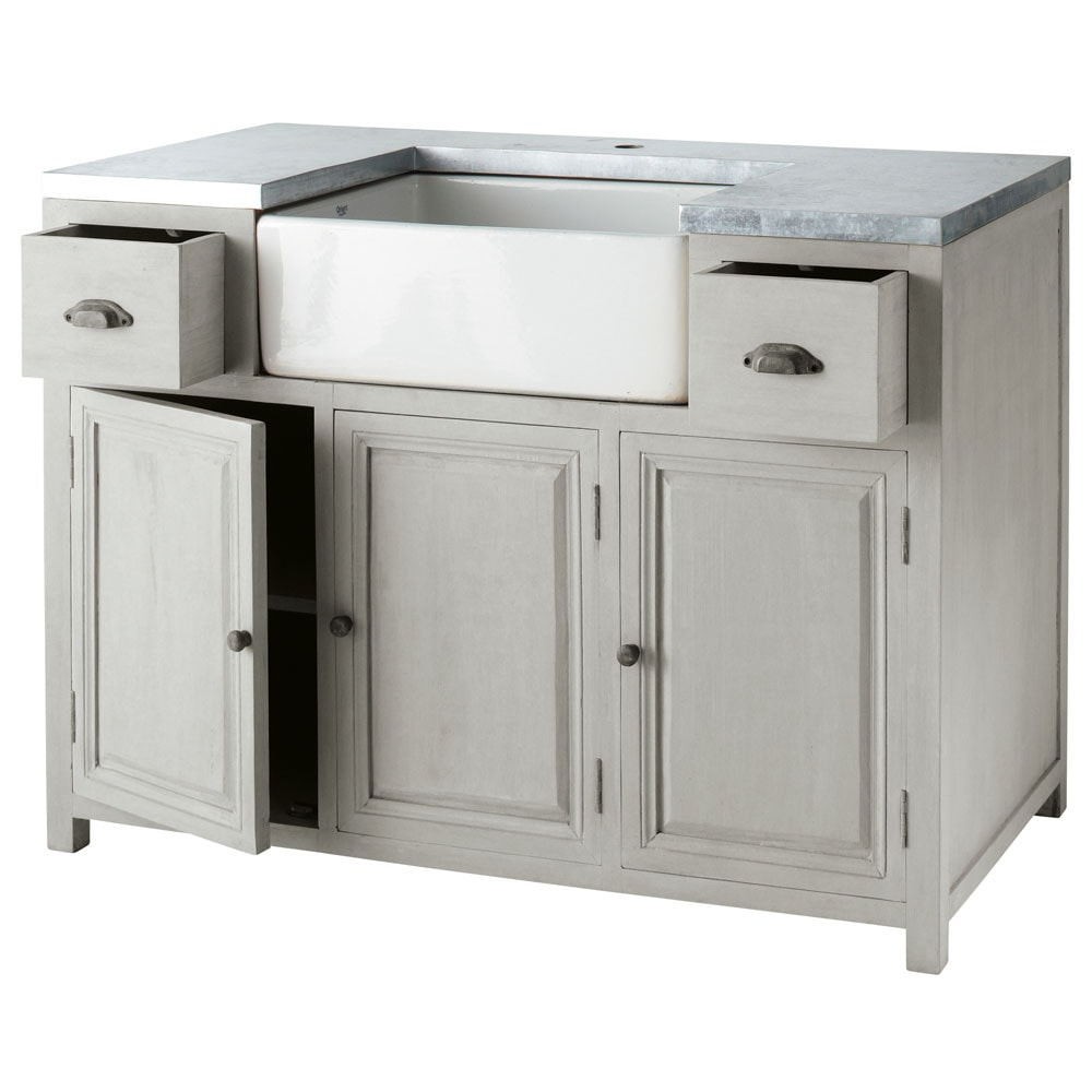 Grey Acacia Wood Lower Kitchen Cabinet With Sink L 120 Cm