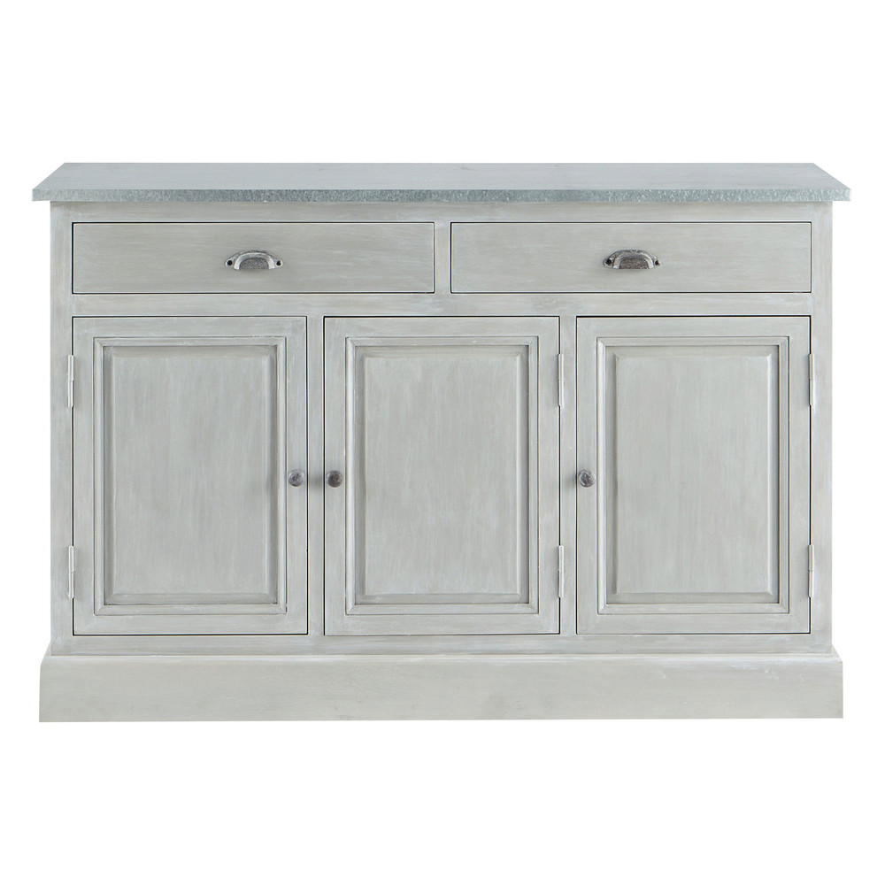 grey acacia wood sideboard l 130 cm zinc maisons du monde. Black Bedroom Furniture Sets. Home Design Ideas