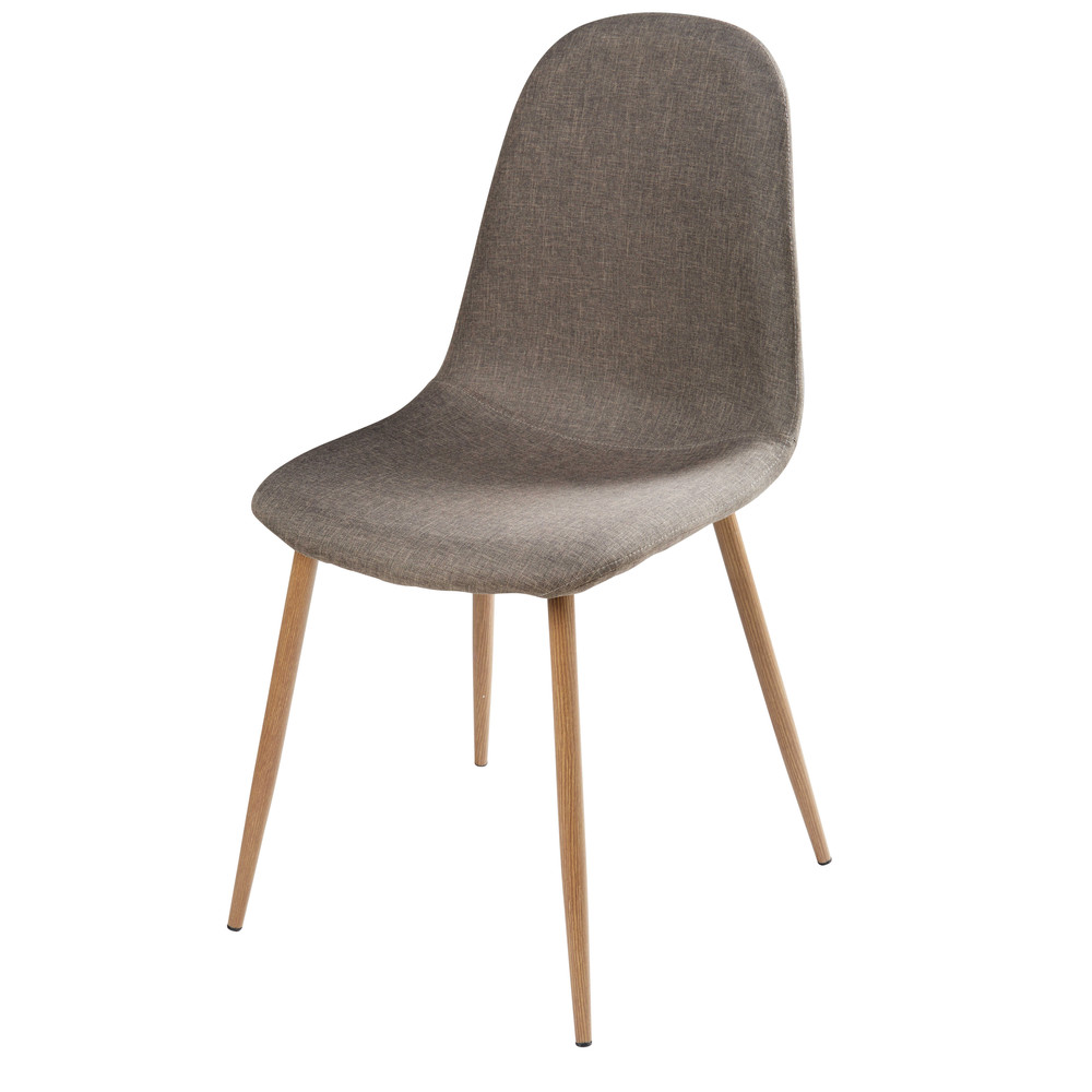 grey fabric and faux wood metal chair clyde maisons du monde. Black Bedroom Furniture Sets. Home Design Ideas