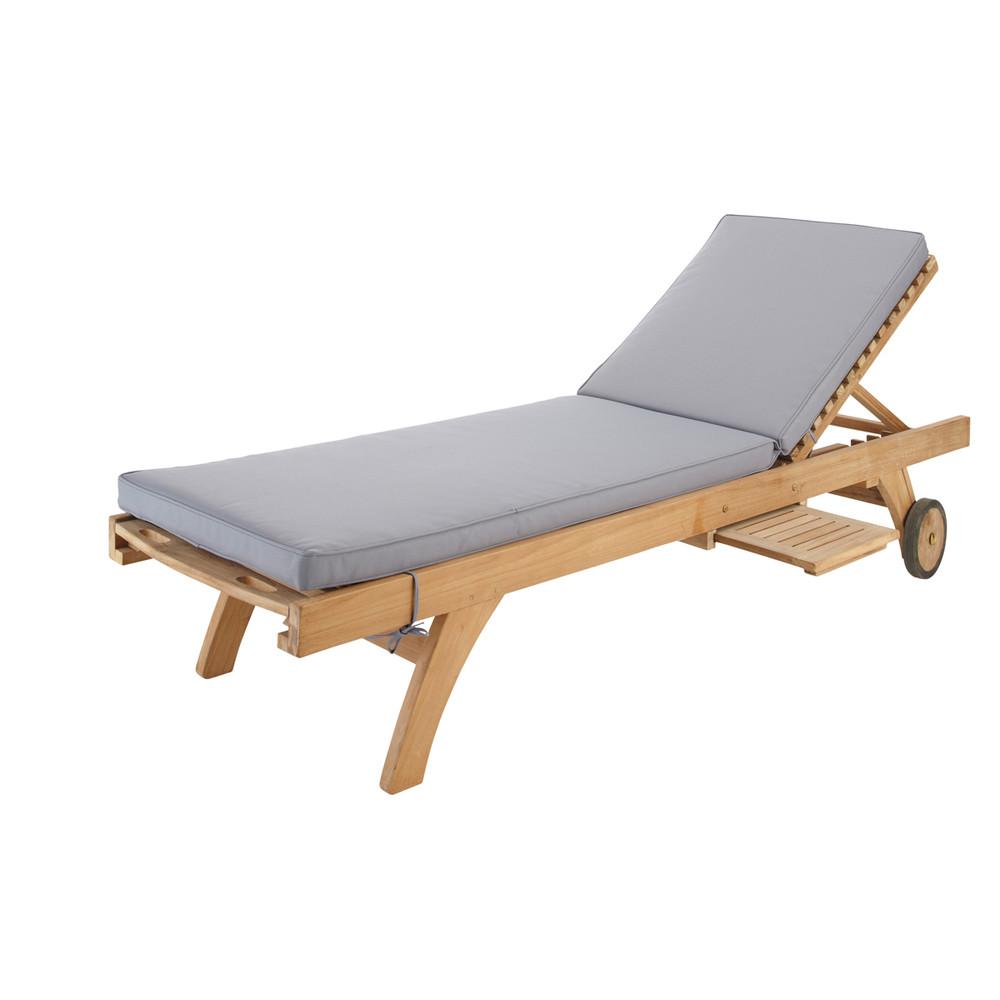 Grey sun lounger mattress l 196 cm sunny maisons du monde - Destockage bain de soleil ...