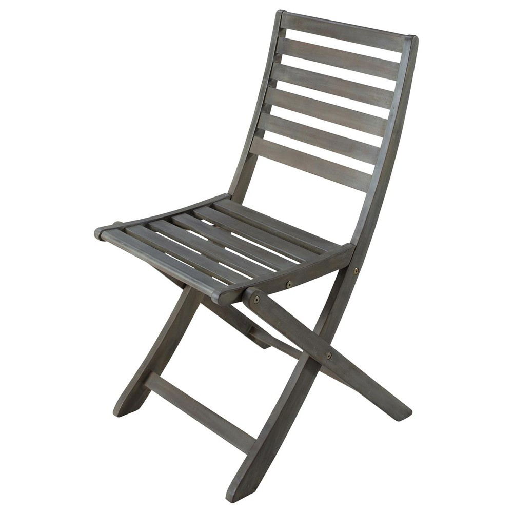 Greyed acacia wood folding garden chair st malo maisons for Chaise pliante