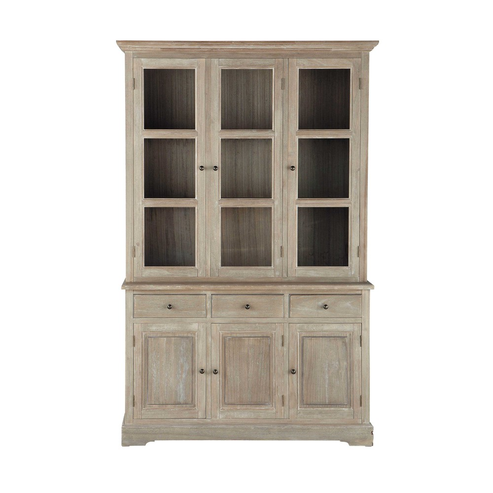Greyed paulownia wood china cabinet w 130cm cavaillon for Maison de monde uk
