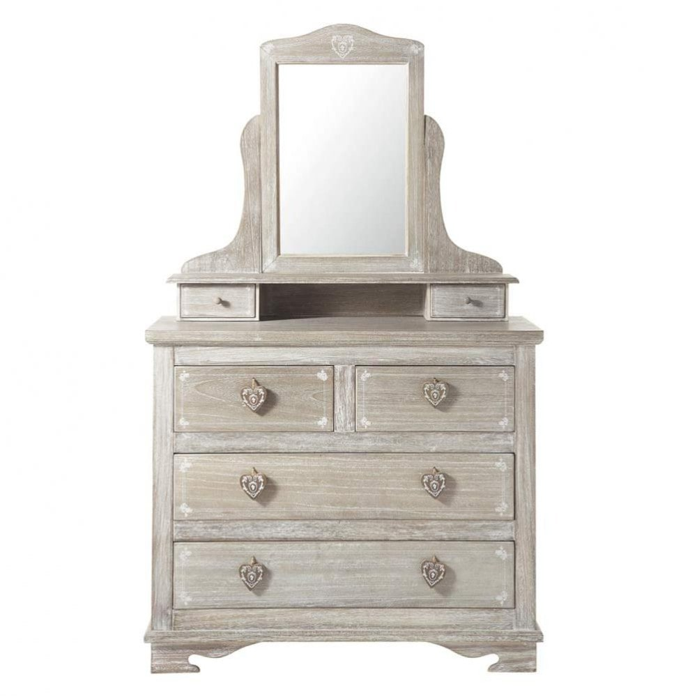 Greyed paulownia wood dressing table w 95cm camille for 90cm dressing table