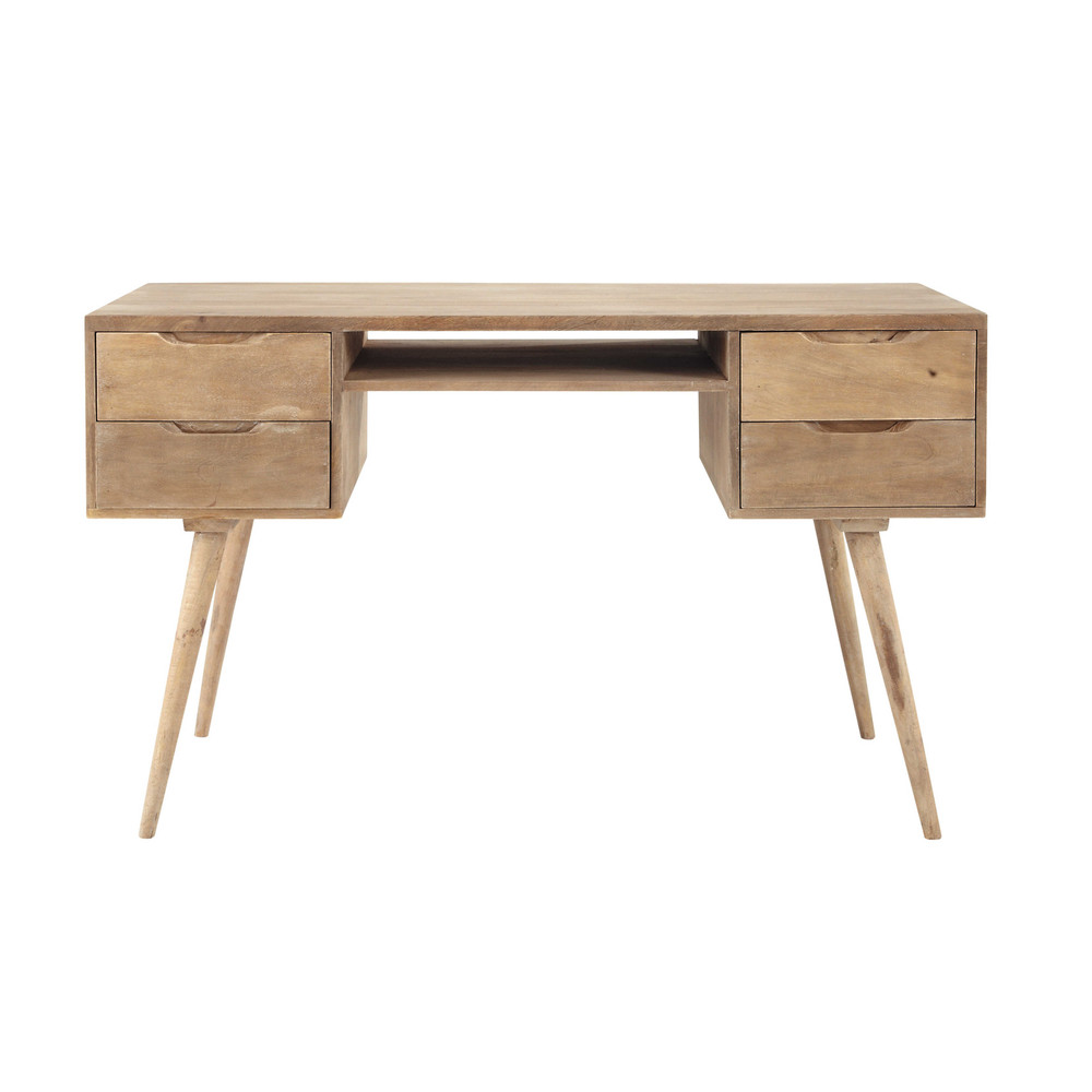 greyed solid mango wood vintage desk w 130cm trocadero maisons du monde. Black Bedroom Furniture Sets. Home Design Ideas