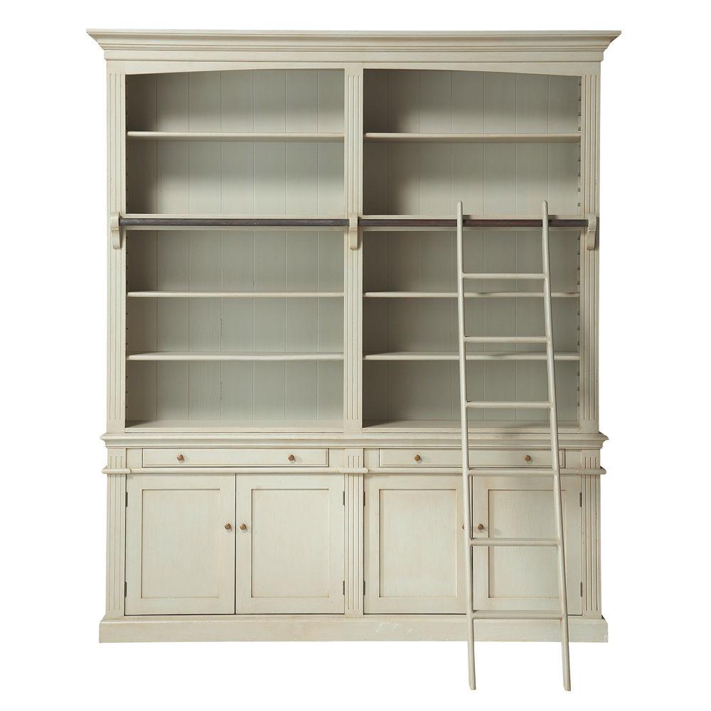 grijze boekenkast met ladder amandine maisons du monde