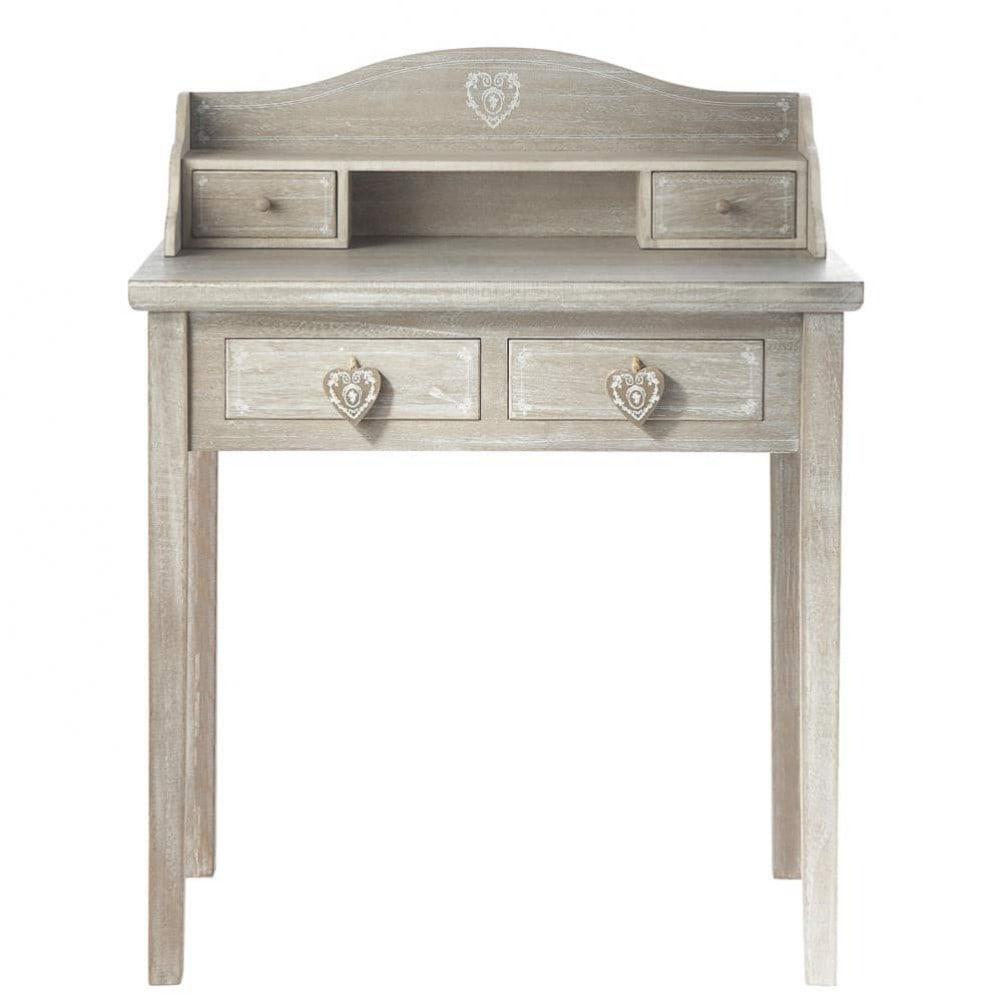 ... Bureaus en secretaires › Grijze houten schrijftafel B 80 cm CAMILLE