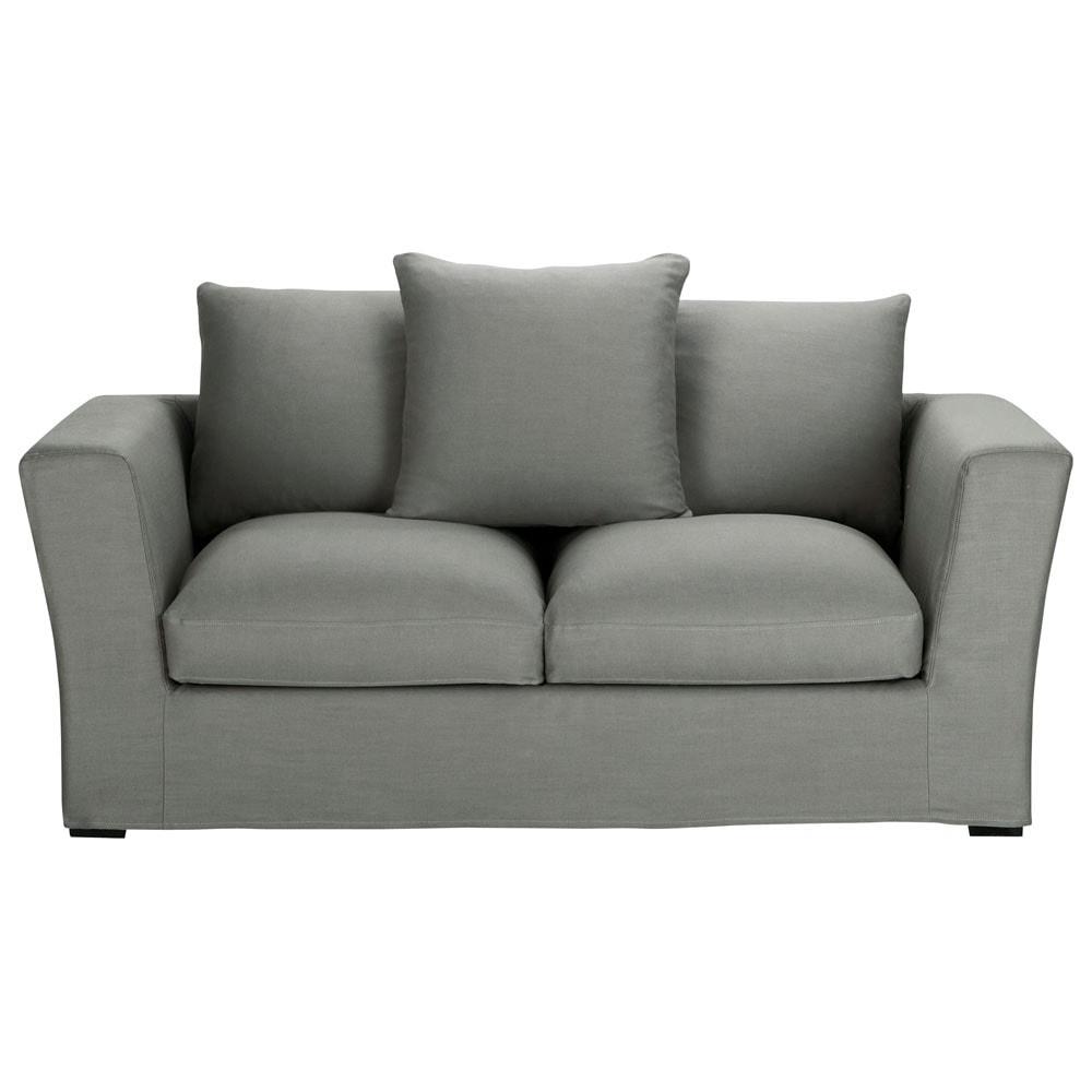 grijze linnen 2 3 plaatsen zitbank bruxelles maisons du monde. Black Bedroom Furniture Sets. Home Design Ideas