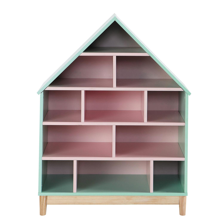 groen en roze kinderboekenkast huis berlingot maisons du monde