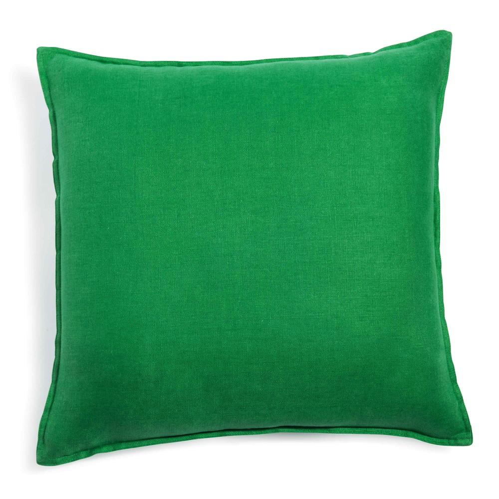 Groen kussen in gewassen linnen 50 x 50 cm maisons du monde - Linnen gordijnen gewassen ...