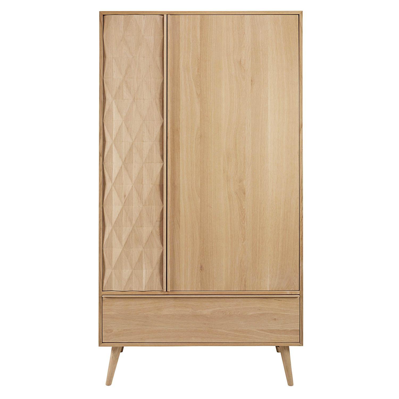 Guardaroba a 2 ante e 1 cassetto in legno massello di quercia Keops ...