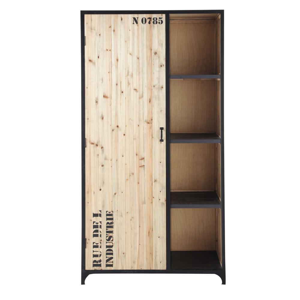 guardaroba nero stile industriale in metallo l 100 cm docks maisons du monde. Black Bedroom Furniture Sets. Home Design Ideas