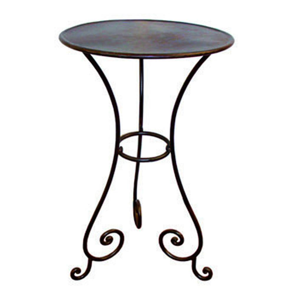 Gu ridon en fer forg marron l 45 cm classica maisons du for Table d appoint fer forge