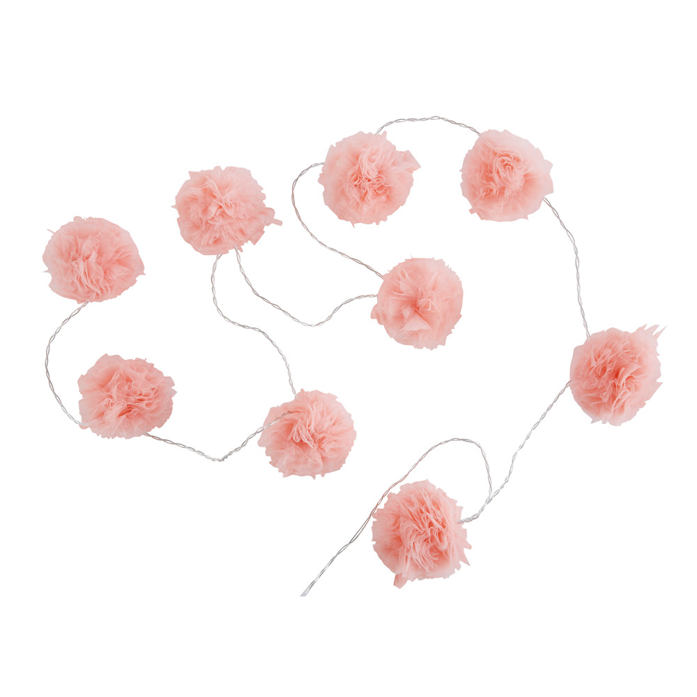 guirlande lumineuse 9 led pompons roses capucine maisons du monde. Black Bedroom Furniture Sets. Home Design Ideas