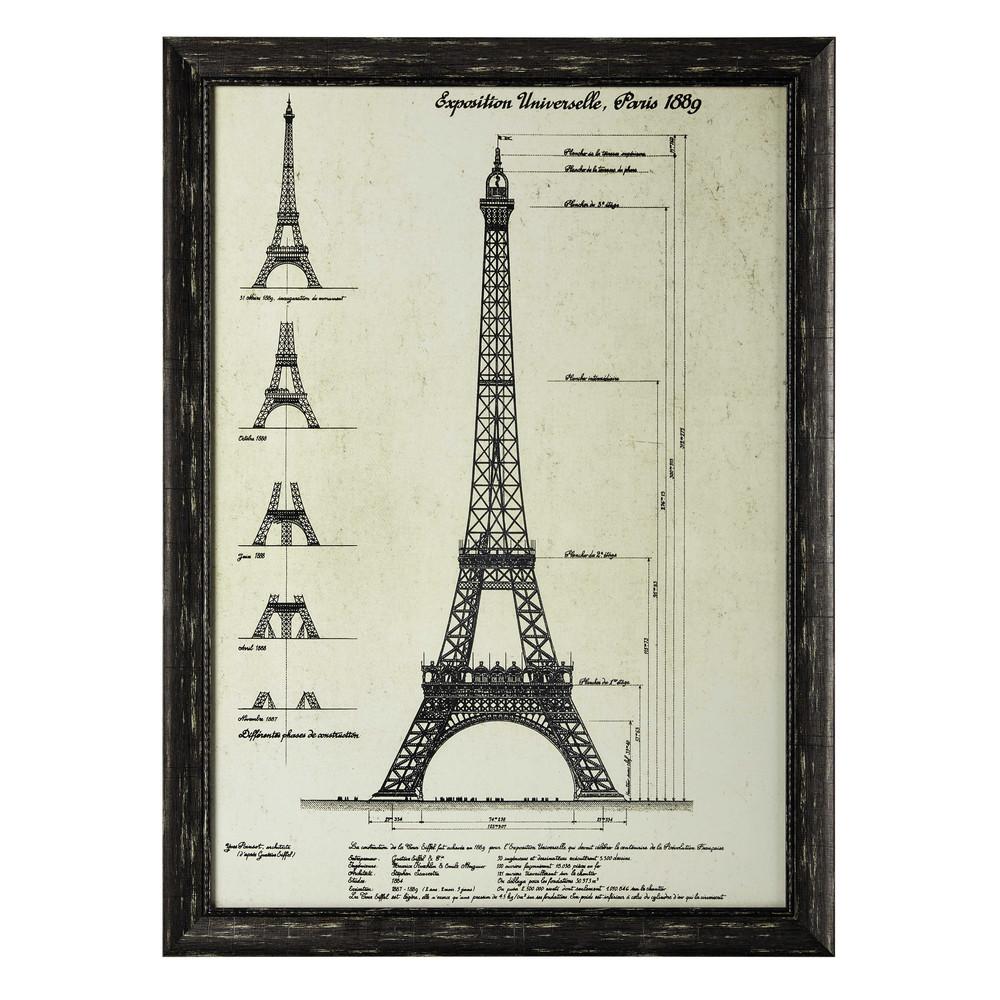 Gustave eiffel wooden frame in black 80 x 110cm maisons - Plateau maison du monde ...