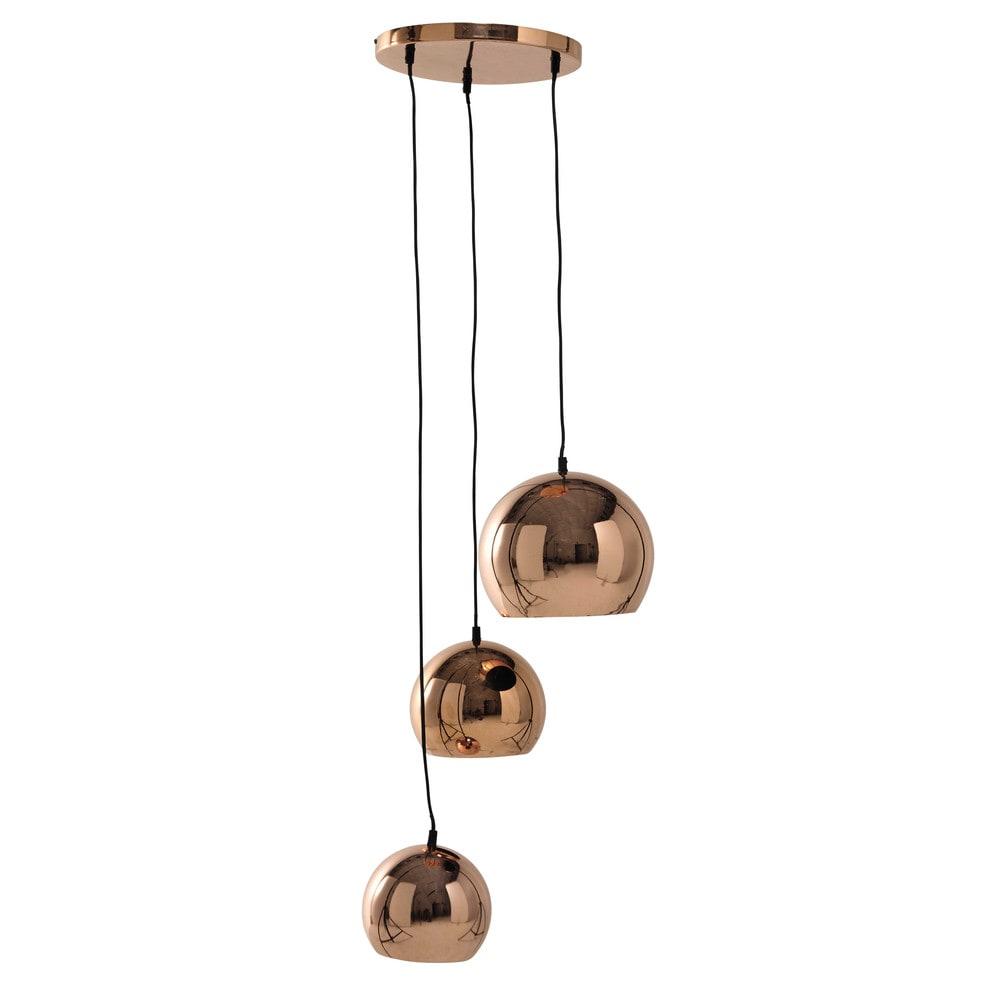 H ngeleuchte chlo mit 3 lampenschirmen aus metall d 36 for Deko kupferfarben