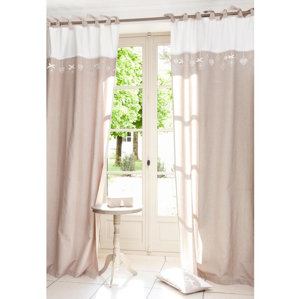 HEARTY Cotton Tie Top Curtain In Beige 105 X 250cm