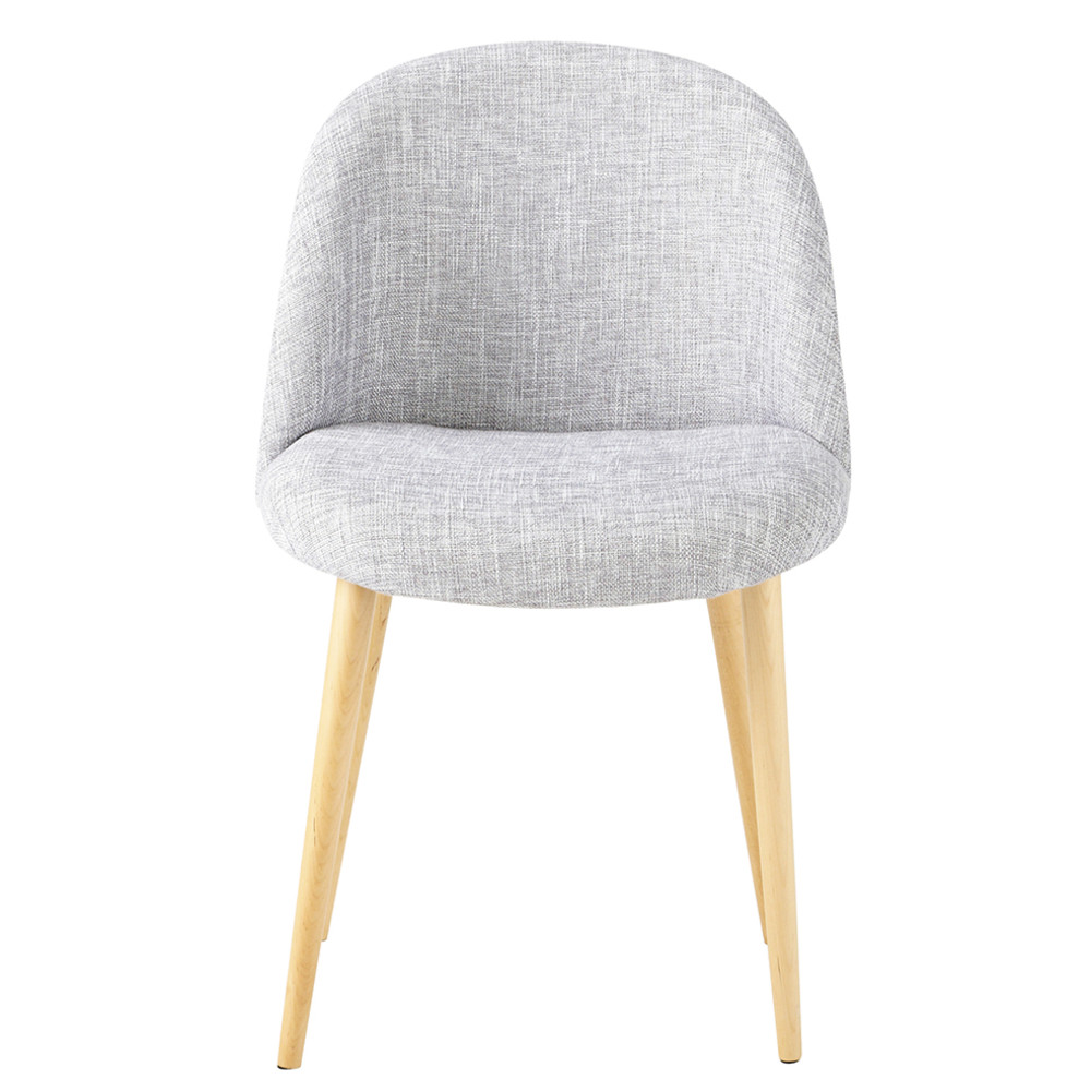Heathered light grey fabric vintage chair mauricette for Maison du monde chaise