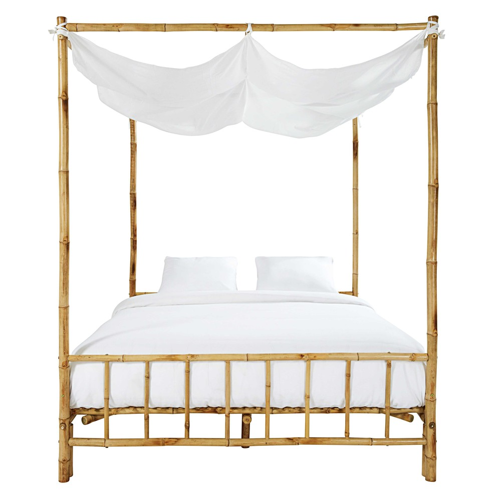 hemelbed van bamboe en witte stof 160 x 200 coconut maisons du monde. Black Bedroom Furniture Sets. Home Design Ideas
