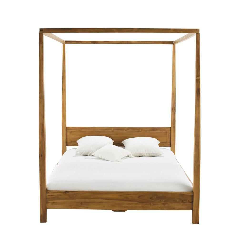 himmelbett aus massivem teakholz 160 x 200 cm amsterdam maisons du monde. Black Bedroom Furniture Sets. Home Design Ideas