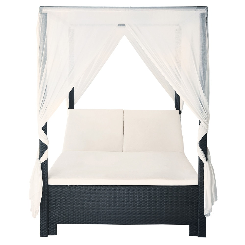 himmelbett f r den garten aus kunstharzgeflecht 150 x 210. Black Bedroom Furniture Sets. Home Design Ideas