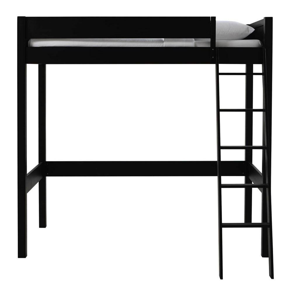 hochbett 90 x 190 cm aus holz schwarz newport maisons du. Black Bedroom Furniture Sets. Home Design Ideas