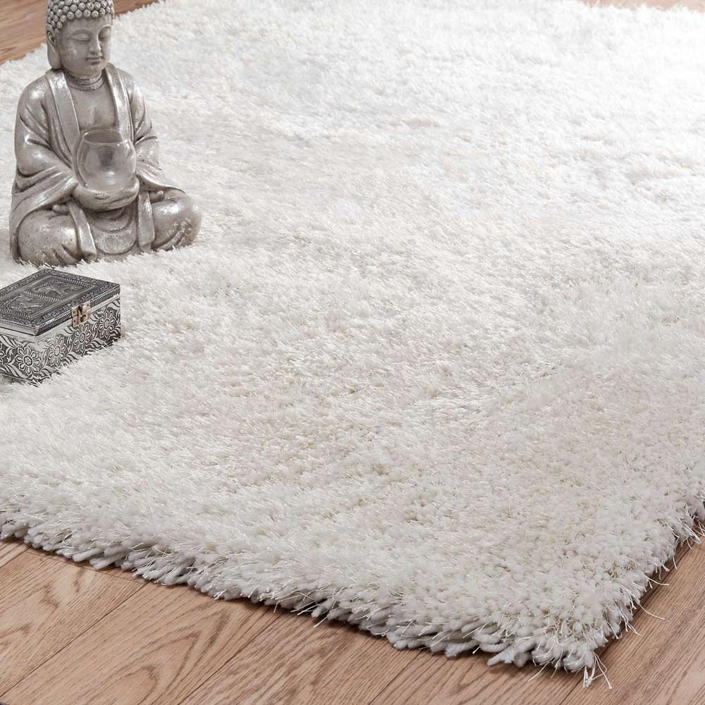 Hochflor Teppich POLAIRE aus Stoff, 140 x 200 cm, ecru