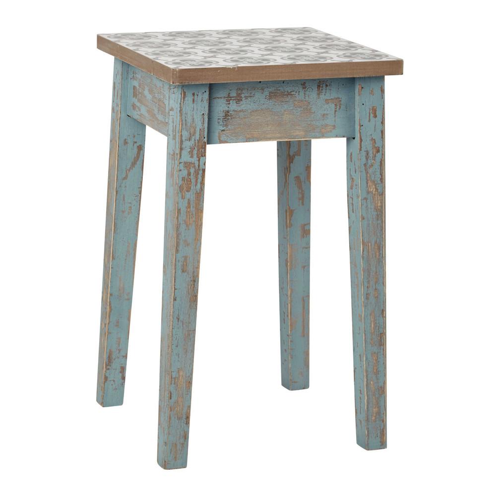 hocker armelle aus patiniertem holz blau maisons du monde. Black Bedroom Furniture Sets. Home Design Ideas