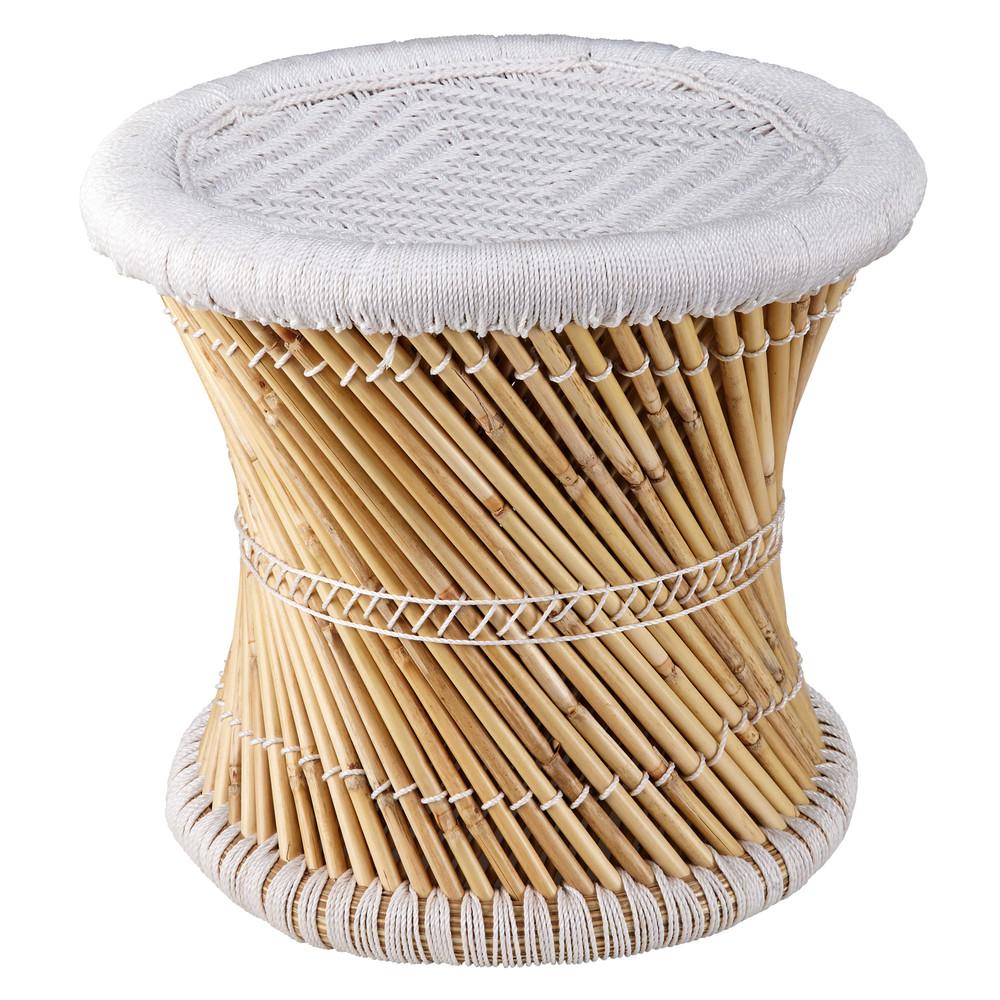 hocker aus bambus und wei em geflochtenem stoff mogale maisons du monde. Black Bedroom Furniture Sets. Home Design Ideas