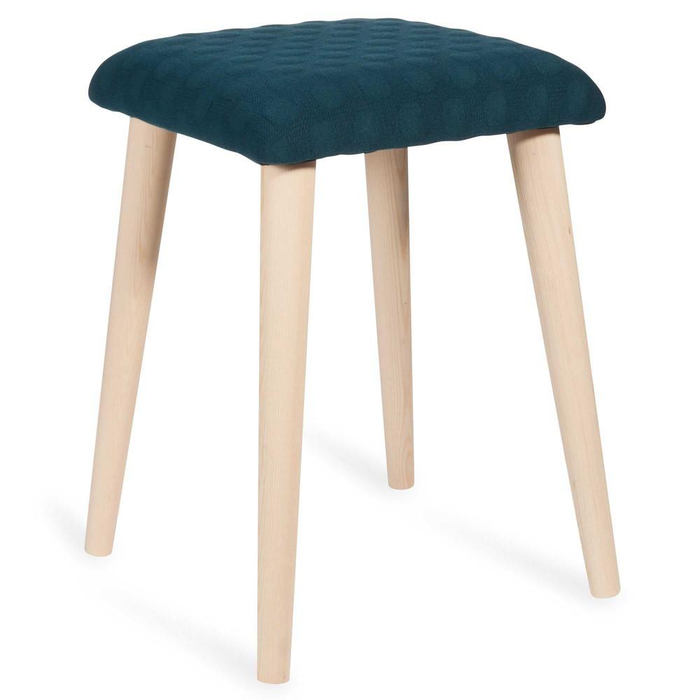 hocker aus holz und blauem stoff evan maisons du monde. Black Bedroom Furniture Sets. Home Design Ideas