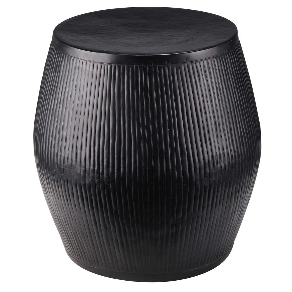 hocker aus kanneliertem metall schwarz ouajdi maisons du monde. Black Bedroom Furniture Sets. Home Design Ideas